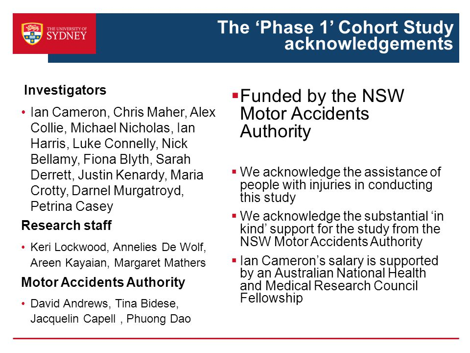 The 'Phase 1' Cohort Study acknowledgements Investigators Ian Cameron, Chris Maher, Alex Collie, Michael Nicholas, Ian Harris, Luke Connelly, Nick Bellamy, Fiona Blyth, Sarah Derrett, Justin Kenardy, Maria Crotty, Darnel Murgatroyd, Petrina Casey Research staff Keri Lockwood, Annelies De Wolf, Areen Kayaian, Margaret Mathers Motor Accidents Authority David Andrews, Tina Bidese, Jacquelin Capell, Phuong Dao  Funded by the NSW Motor Accidents Authority  We acknowledge the assistance of people with injuries in conducting this study  We acknowledge the substantial 'in kind' support for the study from the NSW Motor Accidents Authority  Ian Cameron's salary is supported by an Australian National Health and Medical Research Council Fellowship