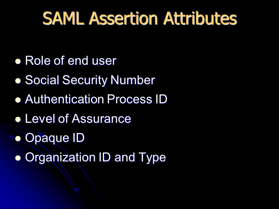 Role of end user Role of end user Social Security Number Social Security Number Authentication Process ID Authentication Process ID Level of Assurance Level of Assurance Opaque ID Opaque ID Organization ID and Type Organization ID and Type SAML Assertion Attributes