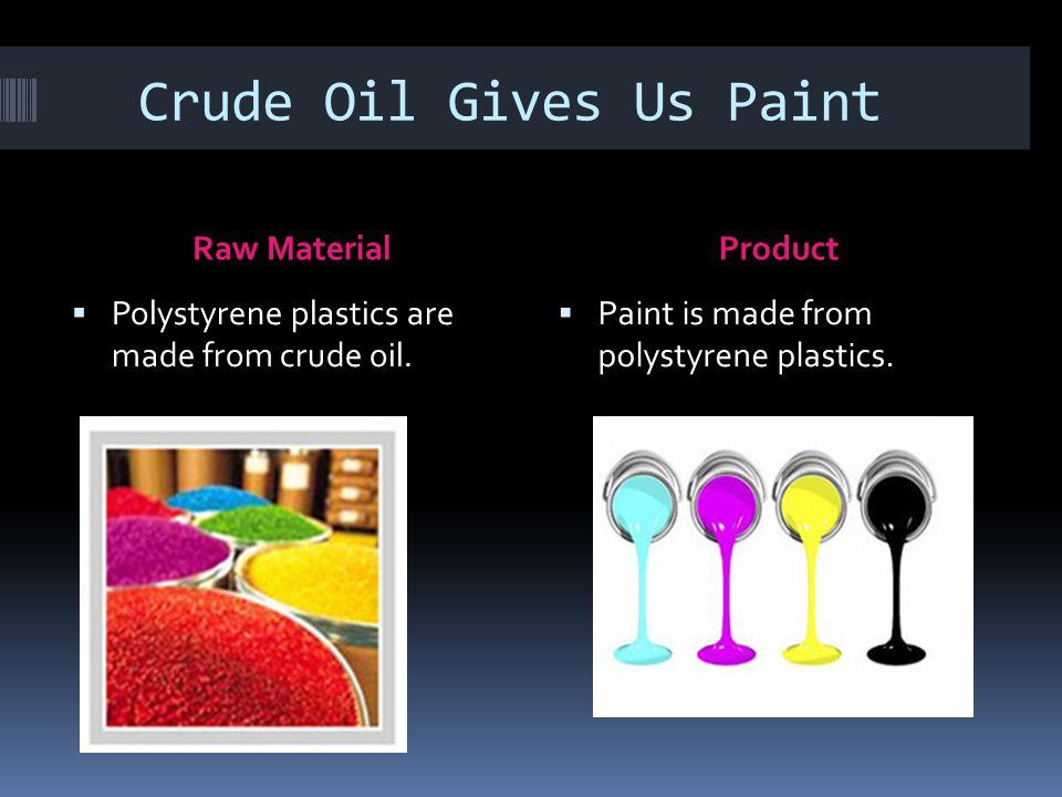 Crude Oil Gives Us Paint Raw MaterialProduct  Polystyrene plastics are made from crude oil.