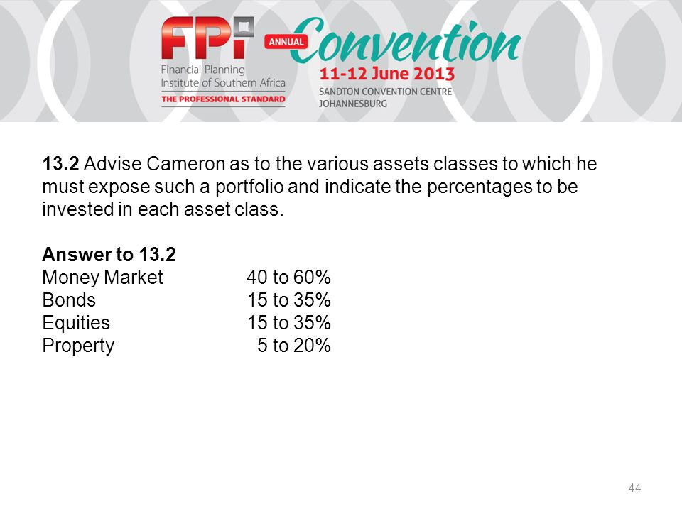 44 13.2 Advise Cameron as to the various assets classes to which he must expose such a portfolio and indicate the percentages to be invested in each asset class.