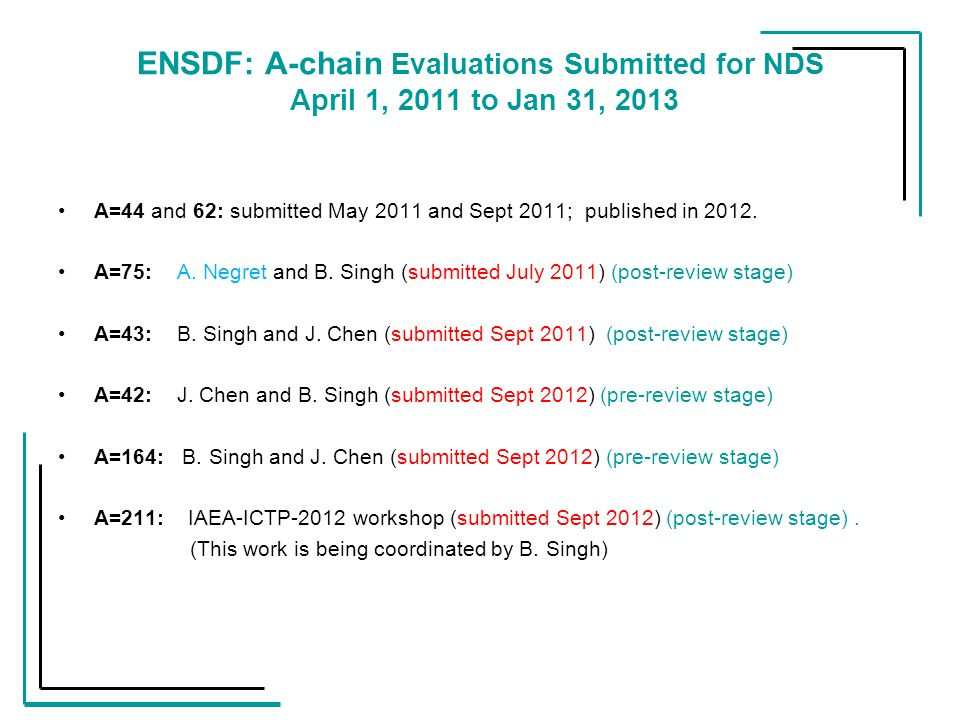 ENSDF: A-chain Evaluations Submitted for NDS April 1, 2011 to Jan 31, 2013 A=44 and 62: submitted May 2011 and Sept 2011; published in 2012.