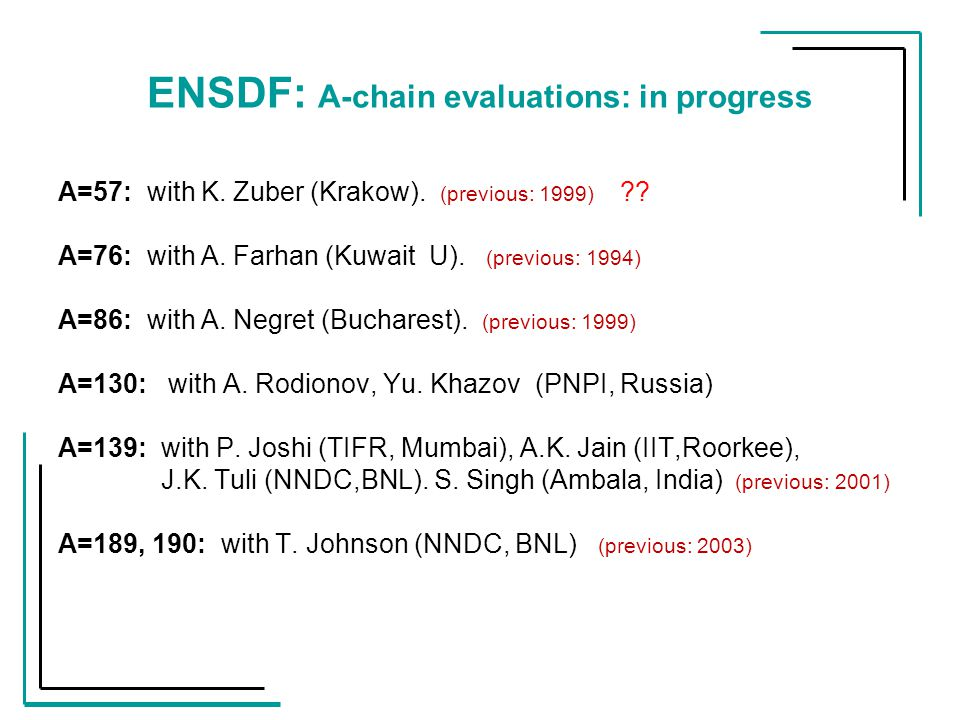 ENSDF: A-chain evaluations: in progress A=57: with K.
