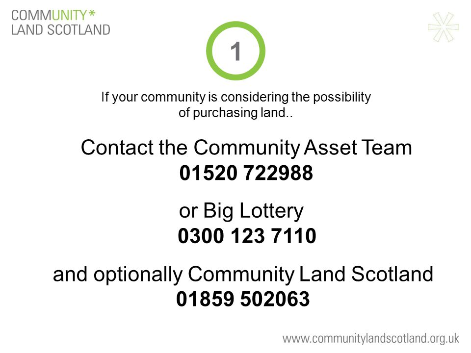 Contact the Community Asset Team 01520 722988 If your community is considering the possibility of purchasing land.. 1 and optionally Community Land Sc