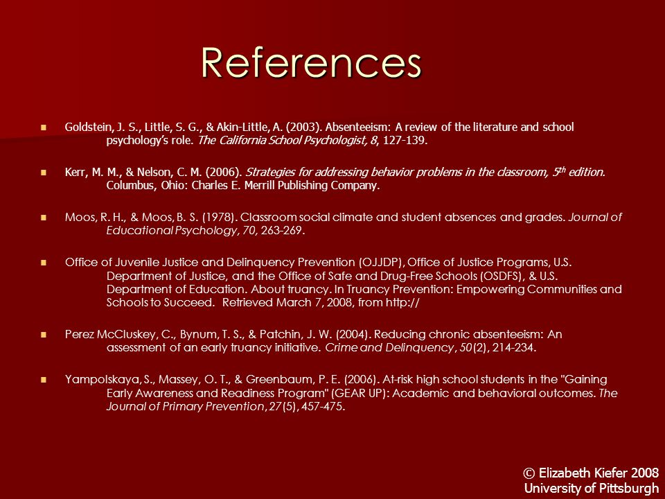 References Goldstein, J. S., Little, S. G., & Akin-Little, A.
