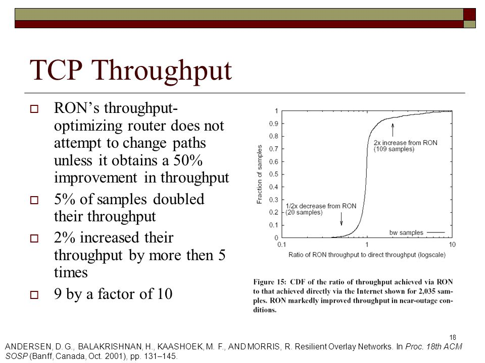 18 TCP Throughput  RON's throughput- optimizing router does not attempt to change paths unless it obtains a 50% improvement in throughput  5% of samples doubled their throughput  2% increased their throughput by more then 5 times  9 by a factor of 10 ANDERSEN, D.
