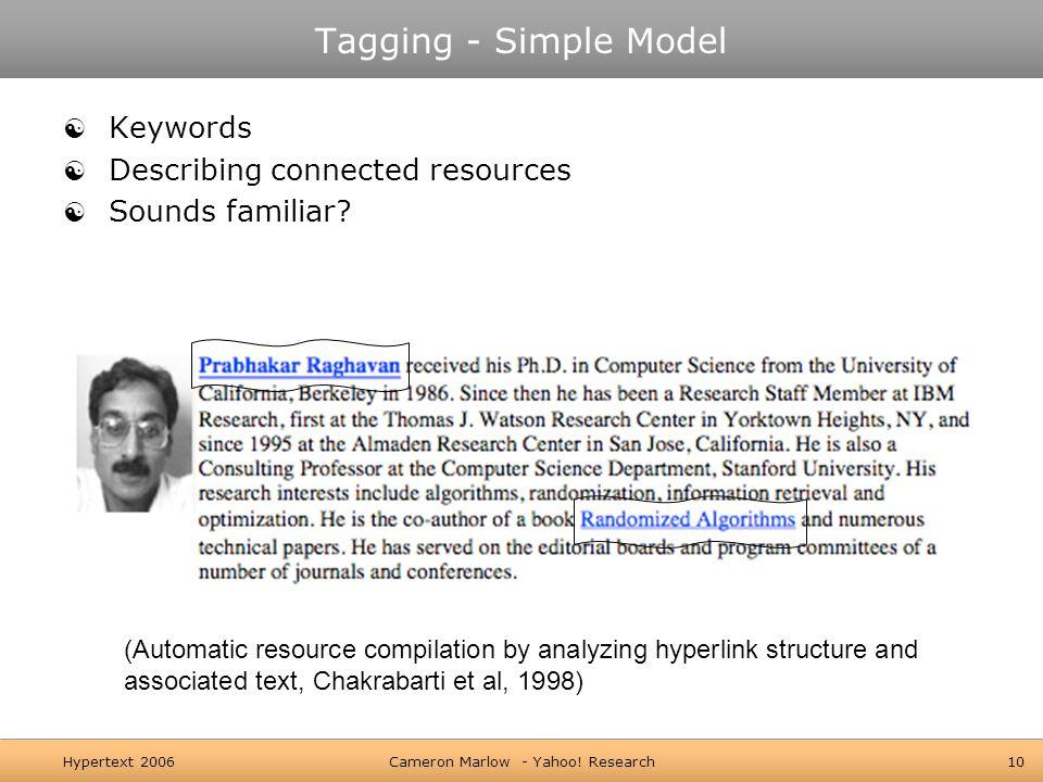 Hypertext 2006Cameron Marlow - Yahoo.
