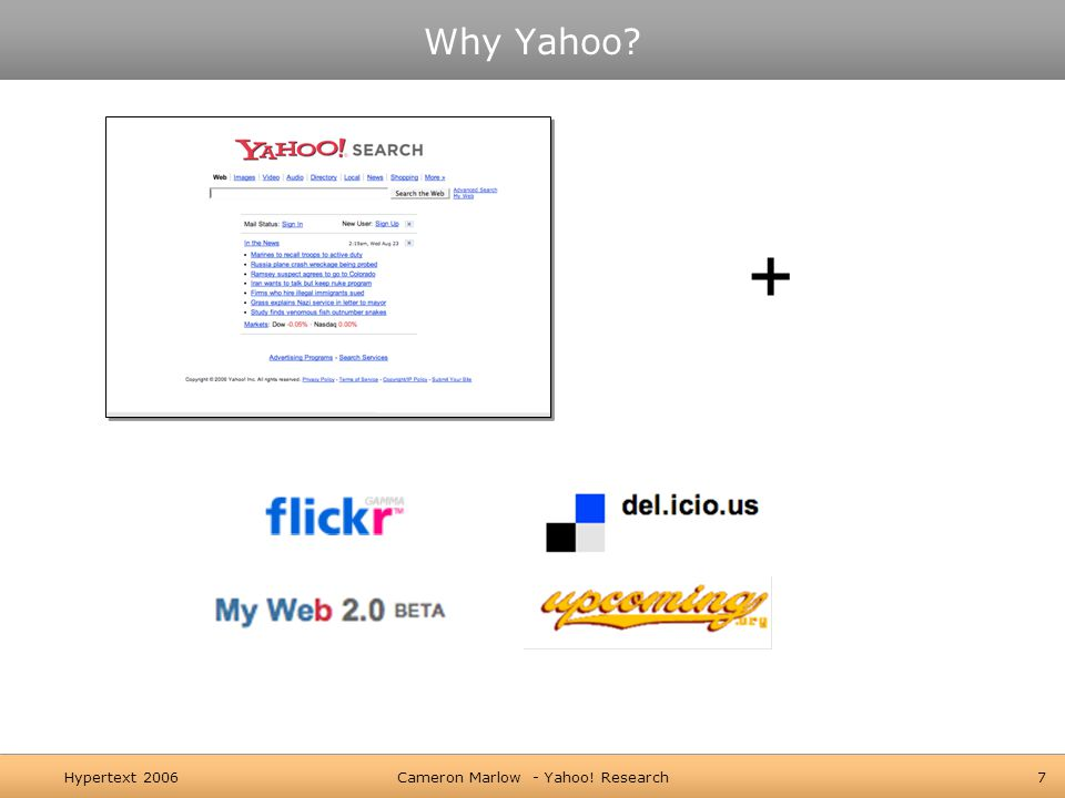 Hypertext 2006Cameron Marlow - Yahoo! Research7 Why Yahoo +