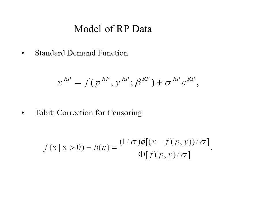 Model of RP Data Standard Demand Function Tobit: Correction for Censoring