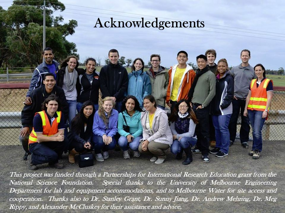 Acknowledgements This project was funded through a Partnerships for International Research Education grant from the National Science Foundation.