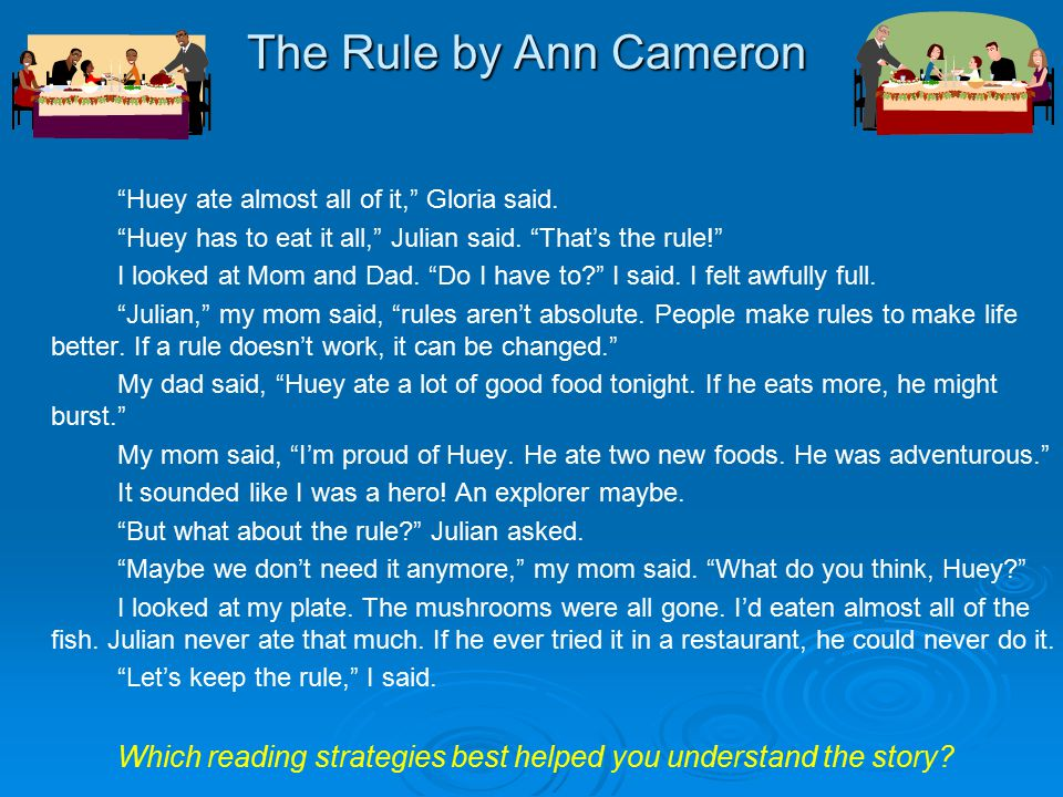 The Rule by Ann Cameron Huey ate almost all of it, Gloria said.
