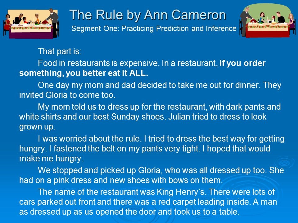 The Rule by Ann Cameron That part is: Food in restaurants is expensive.