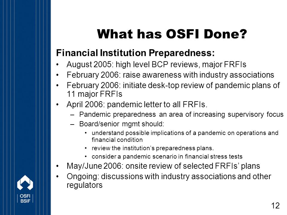 12 What has OSFI Done.