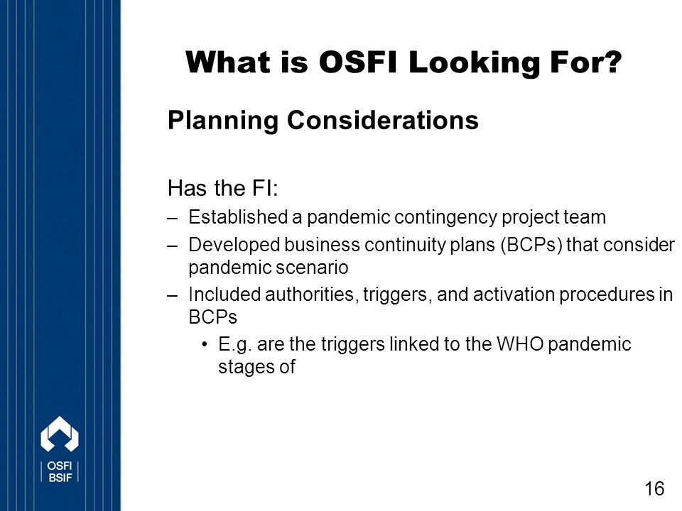 16 What is OSFI Looking For.