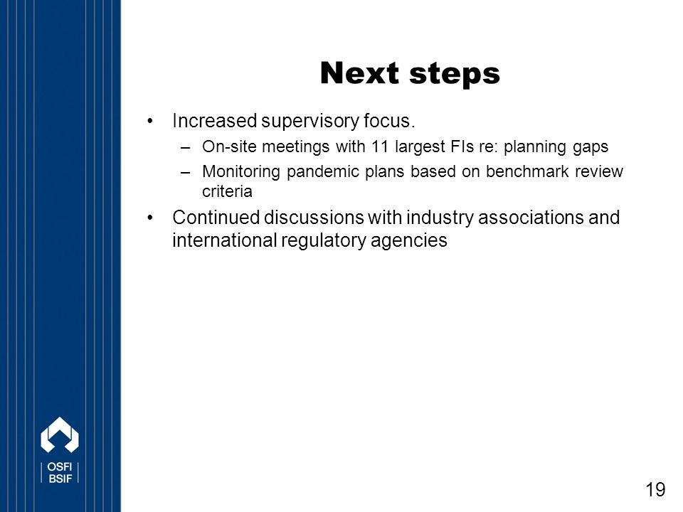 19 Next steps Increased supervisory focus.