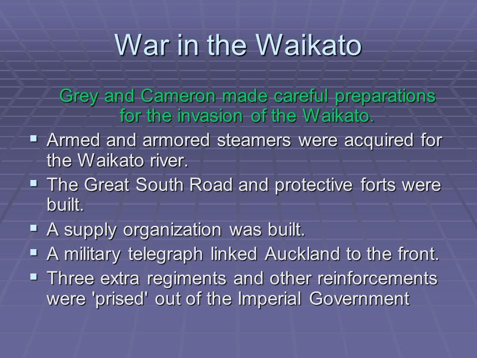 War in the Waikato  The Paterangi operations gave the British one of the three main agricultural heartlands of the Waikato tribes.