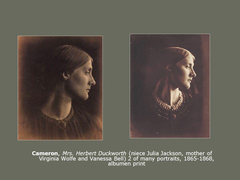 Cameron, Mrs. Herbert Duckworth (niece Julia Jackson, mother of Virginia Wolfe and Vanessa Bell) 2 of many portraits, 1865-1868, albumen print