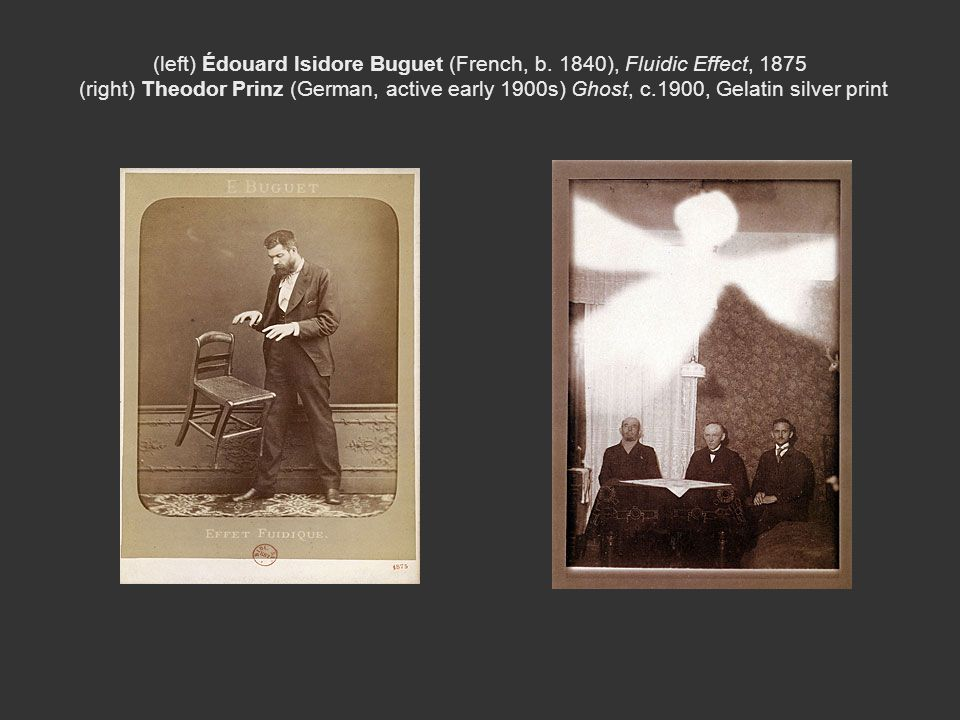 (left) Édouard Isidore Buguet (French, b. 1840), Fluidic Effect, 1875 (right) Theodor Prinz (German, active early 1900s) Ghost, c.1900, Gelatin silver
