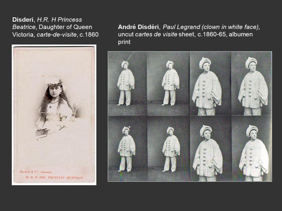 André Disdéri, Paul Legrand (clown in white face), uncut cartes de visite sheet, c.1860-65, albumen print Disderi, H.R. H Princess Beatrice, Daughter