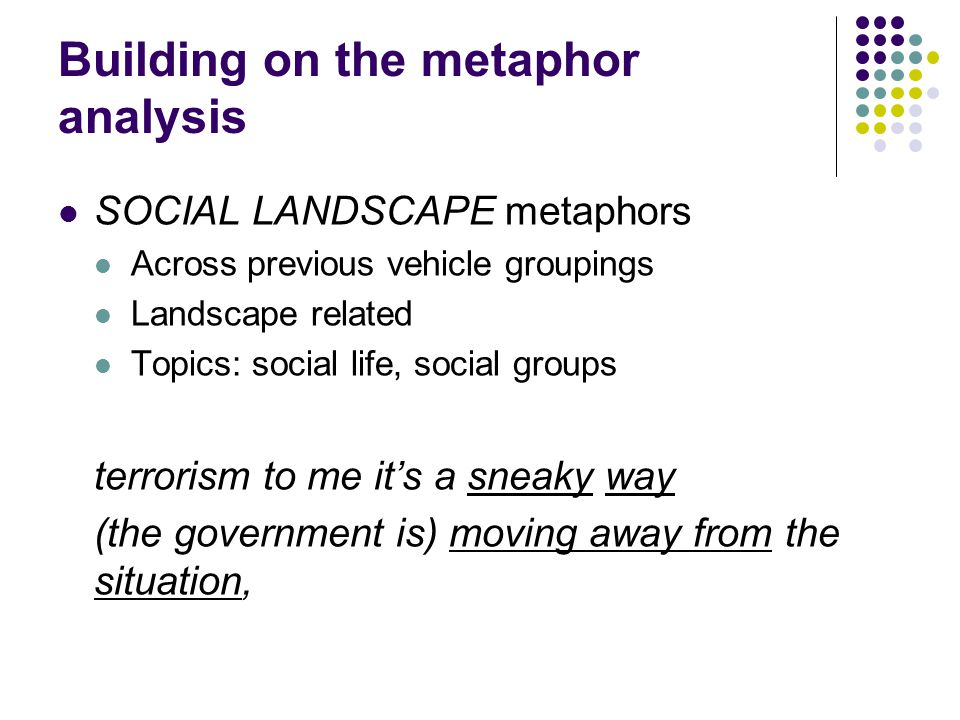 Building on the metaphor analysis SOCIAL LANDSCAPE metaphors Across previous vehicle groupings Landscape related Topics: social life, social groups te