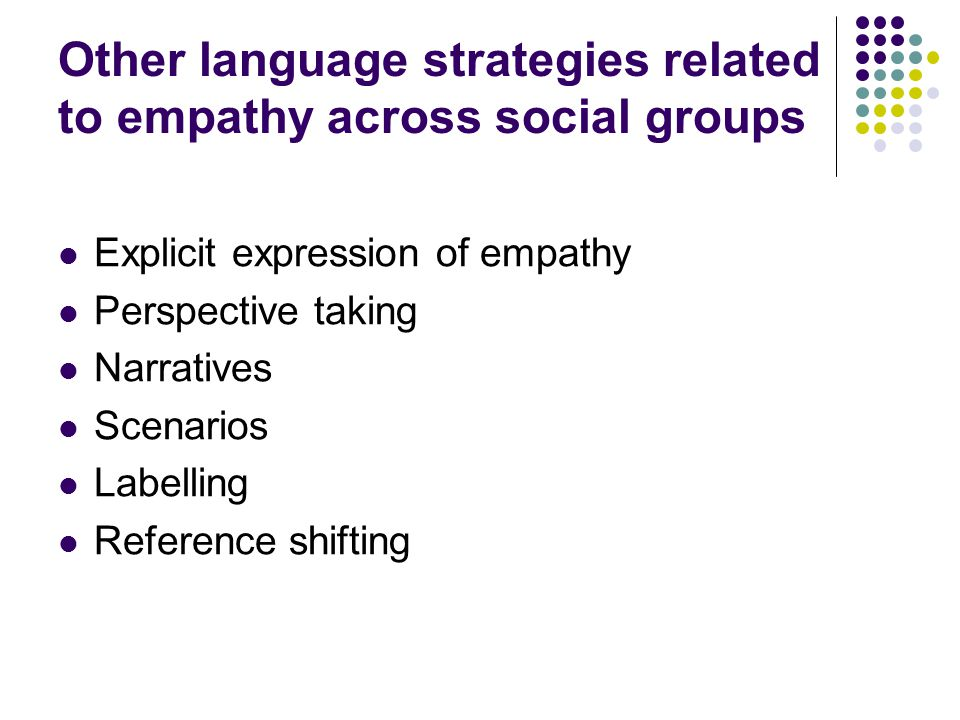 Other language strategies related to empathy across social groups Explicit expression of empathy Perspective taking Narratives Scenarios Labelling Ref