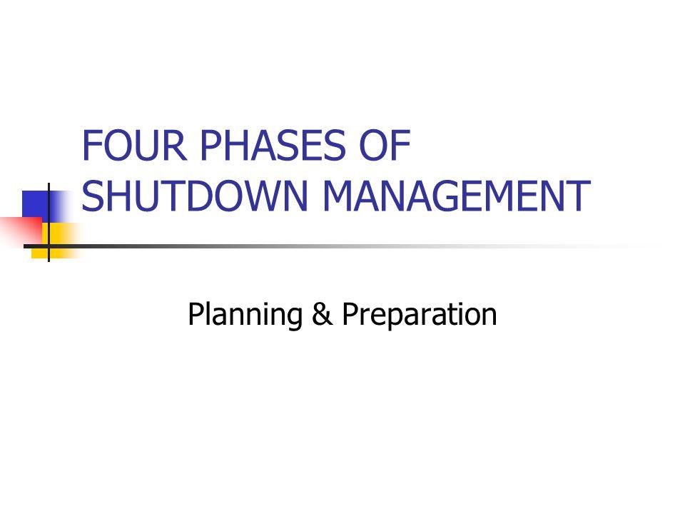 FOUR PHASES OF SHUTDOWN MANAGEMENT Planning & Preparation