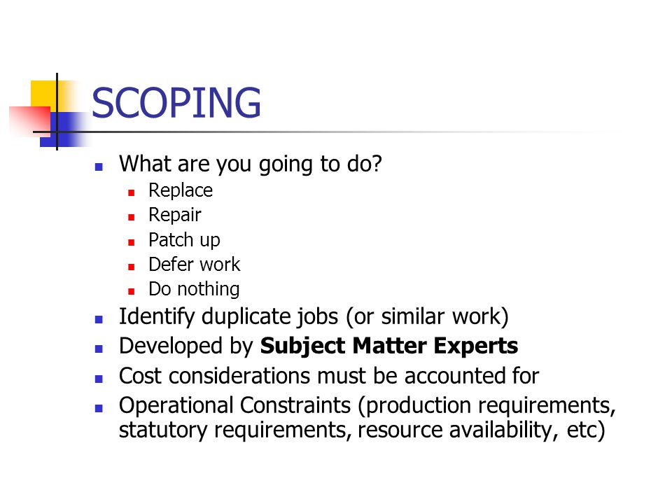 SCOPING What are you going to do? Replace Repair Patch up Defer work Do nothing Identify duplicate jobs (or similar work) Developed by Subject Matter