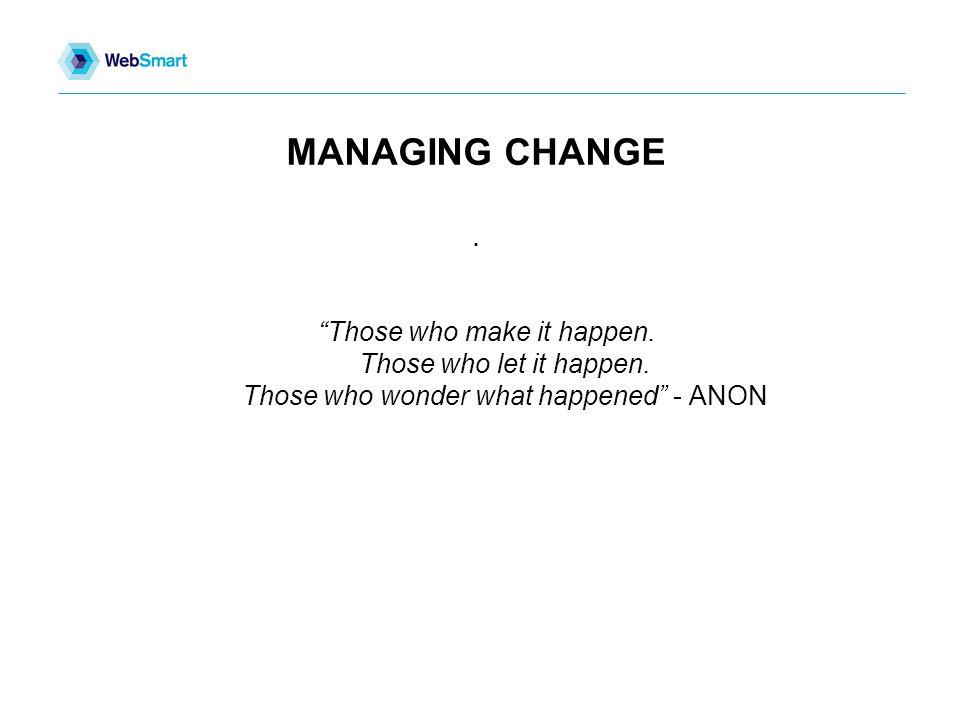 MANAGING CHANGE. Those who make it happen. Those who let it happen.