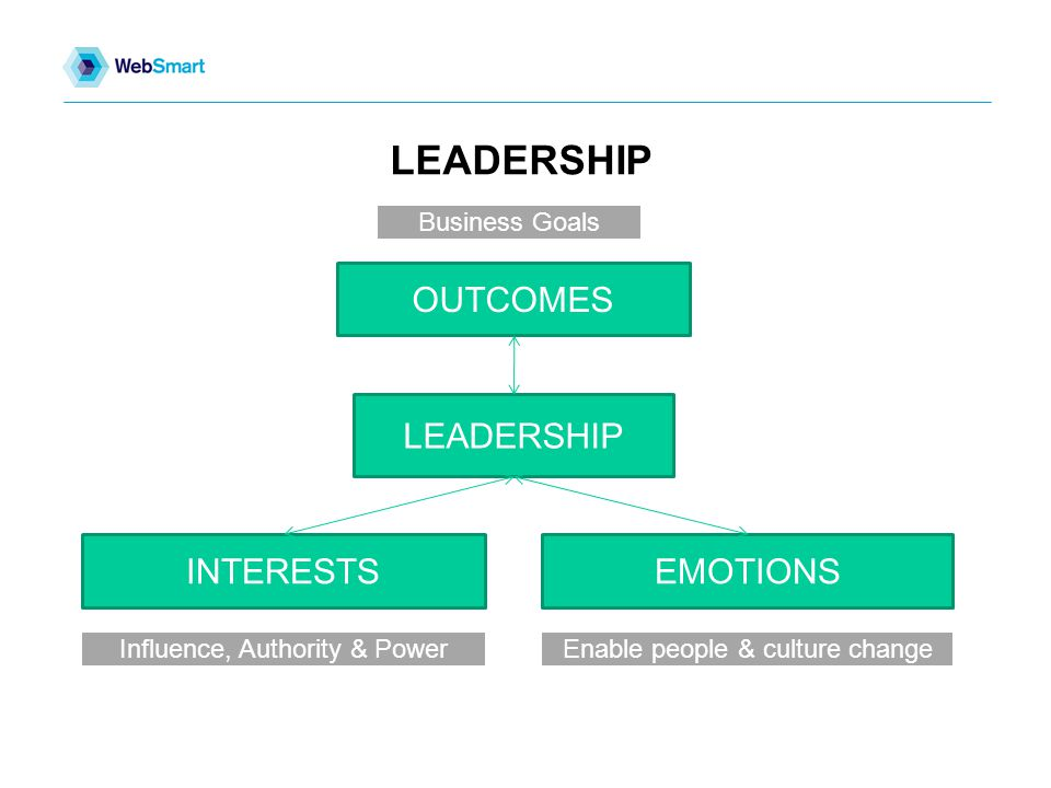 LEADERSHIP OUTCOMES LEADERSHIP INTERESTSEMOTIONS Influence, Authority & PowerEnable people & culture change Business Goals