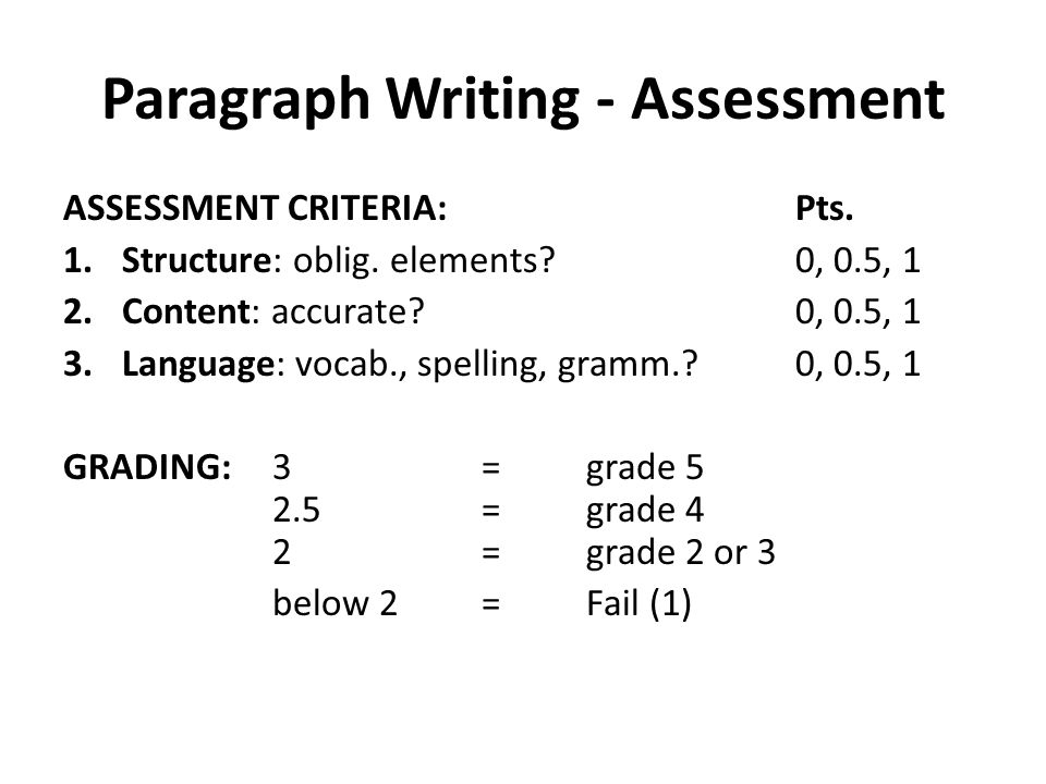 Paragraph Writing - Assessment ASSESSMENT CRITERIA:Pts.
