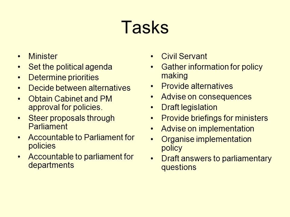 Tasks Minister Set the political agenda Determine priorities Decide between alternatives Obtain Cabinet and PM approval for policies. Steer proposals