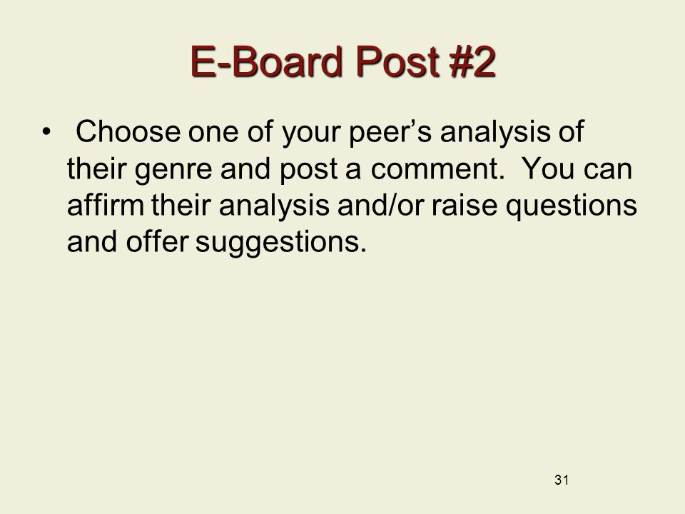 31 E-Board Post #2 Choose one of your peer's analysis of their genre and post a comment.