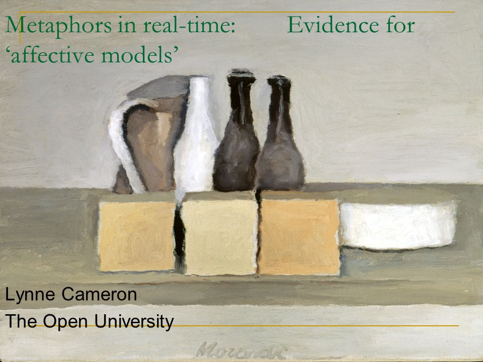 Metaphors in real-time: Evidence for 'affective models' Lynne Cameron The Open University