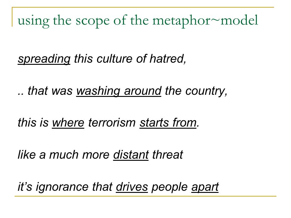 using the scope of the metaphor~model spreading this culture of hatred,.. that was washing around the country, this is where terrorism starts from. li