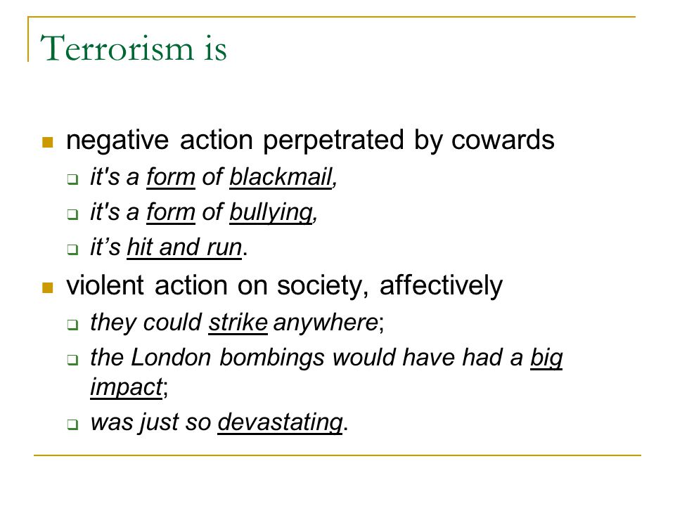Terrorism is negative action perpetrated by cowards  it's a form of blackmail,  it's a form of bullying,  it's hit and run. violent action on socie