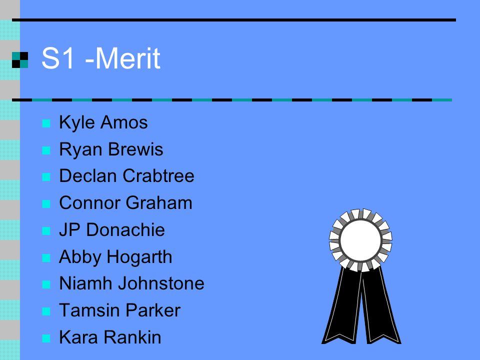 S1 -Merit Kyle Amos Ryan Brewis Declan Crabtree Connor Graham JP Donachie Abby Hogarth Niamh Johnstone Tamsin Parker Kara Rankin