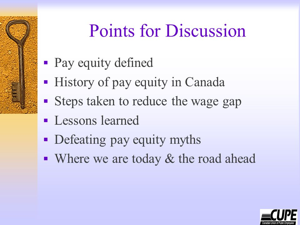 Points for Discussion  Pay equity defined  History of pay equity in Canada  Steps taken to reduce the wage gap  Lessons learned  Defeating pay eq