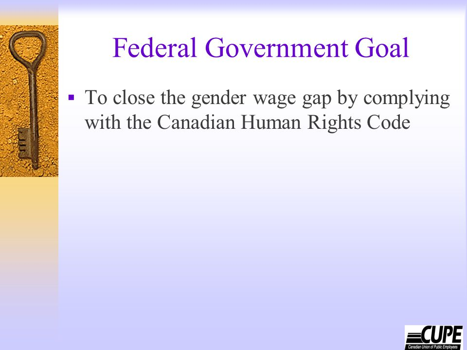 Federal Government Goal  To close the gender wage gap by complying with the Canadian Human Rights Code