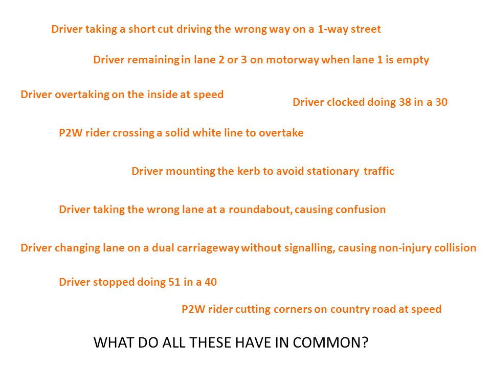 Moving traffic offences Failures of socialisation and training Crash Magnets: driving with reduced safety margins, purposely or inadvertently Potential prelude to a prang or disruption of progress: IT COULD HAVE BEEN WORSE THESE PEOPLE NEED HELP, A SECOND CHANCE WHAT DO ALL THESE HAVE IN COMMON?