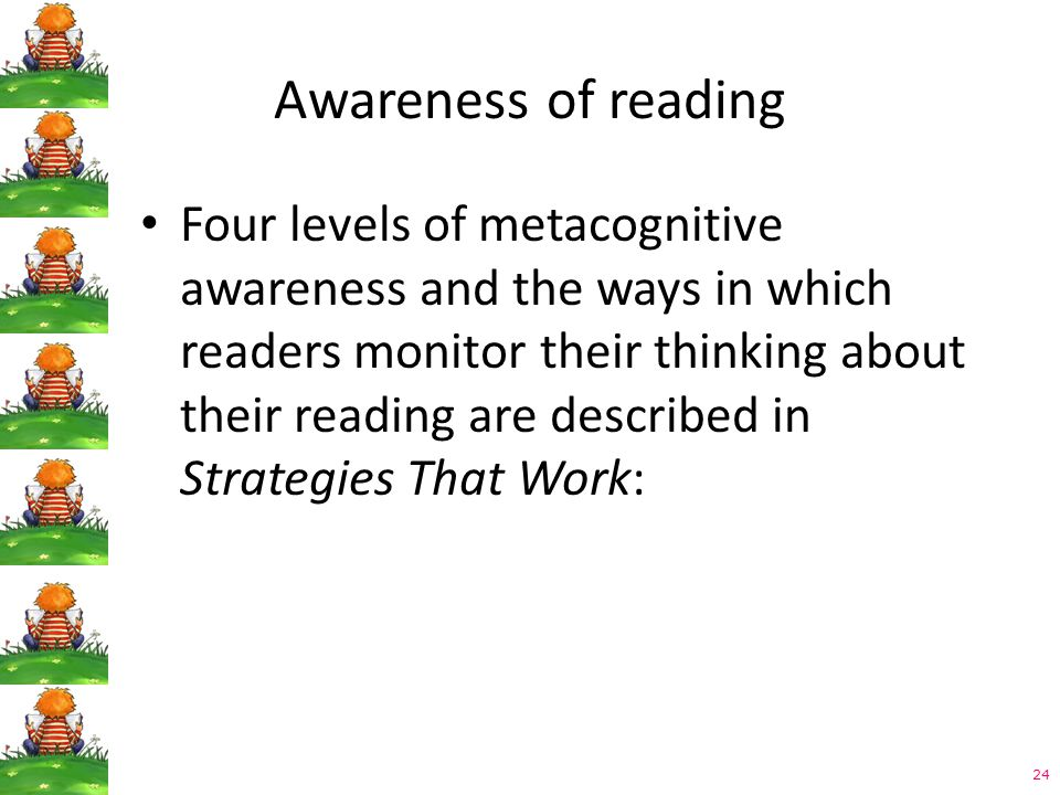 24 Awareness of reading Four levels of metacognitive awareness and the ways in which readers monitor their thinking about their reading are described