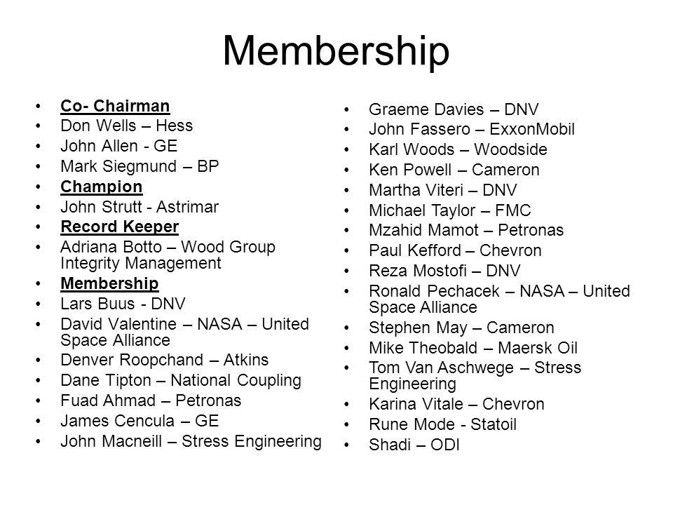 Co- Chairman Don Wells – Hess John Allen - GE Mark Siegmund – BP Champion John Strutt - Astrimar Record Keeper Adriana Botto – Wood Group Integrity Ma