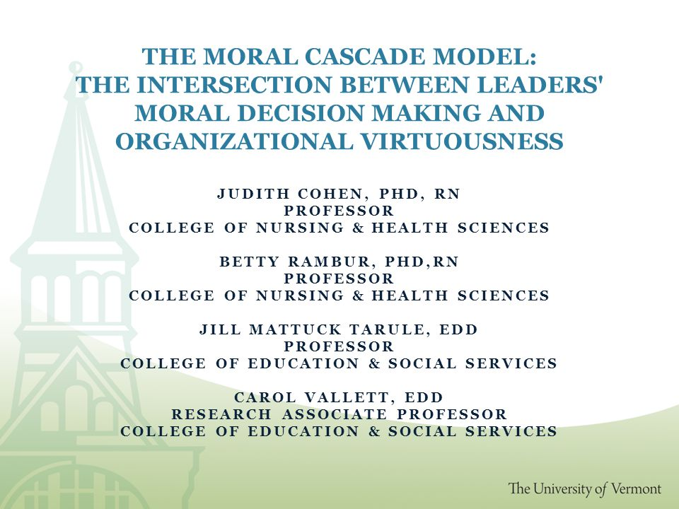 Context and Assumptions Moral distress occurs at the interface of the individual and the organization Organizations shape individuals as the individuals shape the organization