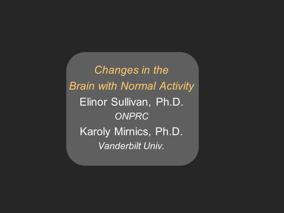 Changes in the Brain with Normal Activity Elinor Sullivan, Ph.D.