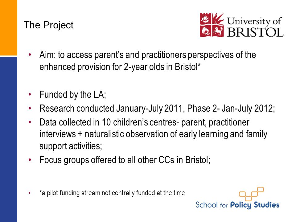 The Project Aim: to access parent's and practitioners perspectives of the enhanced provision for 2-year olds in Bristol* Funded by the LA; Research co