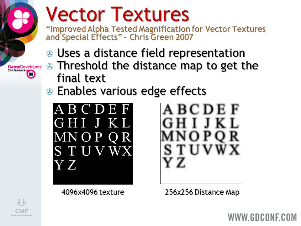 "Vector Textures ""Improved Alpha Tested Magnification for Vector Textures and Special Effects"" – Chris Green 2007 256x256 Distance Map 4096x4096 textur"