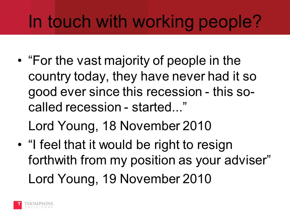 In touch with working people.