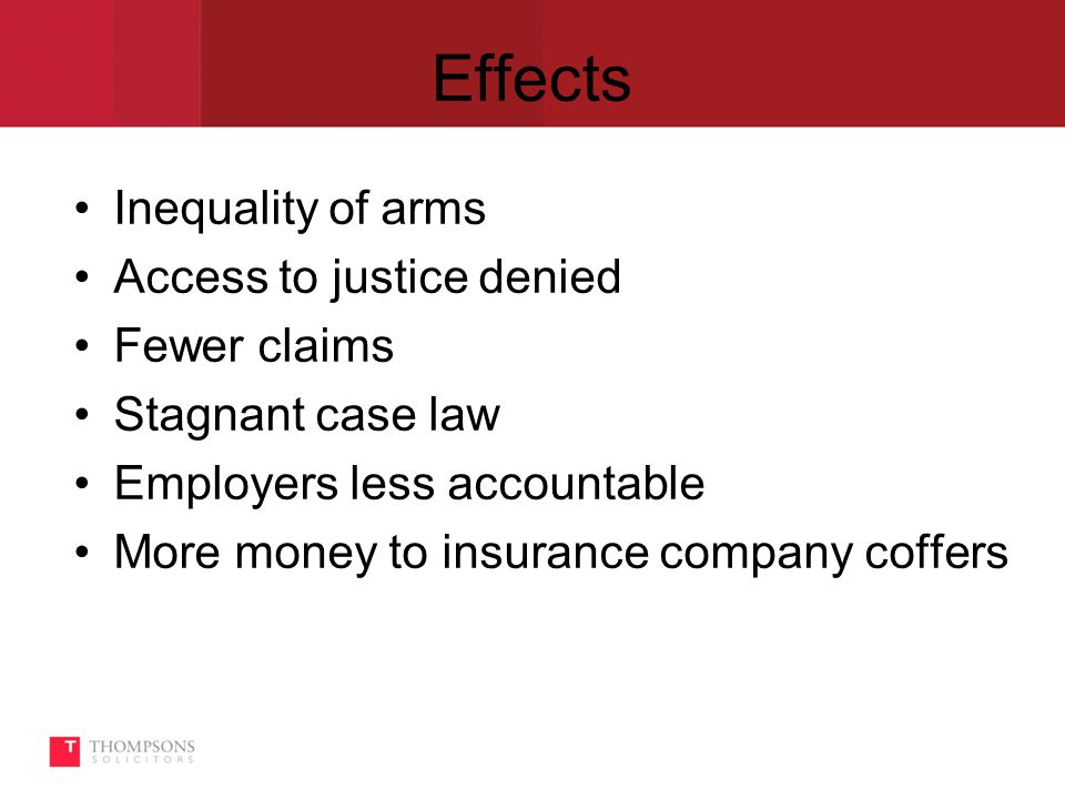 Effects Inequality of arms Access to justice denied Fewer claims Stagnant case law Employers less accountable More money to insurance company coffers