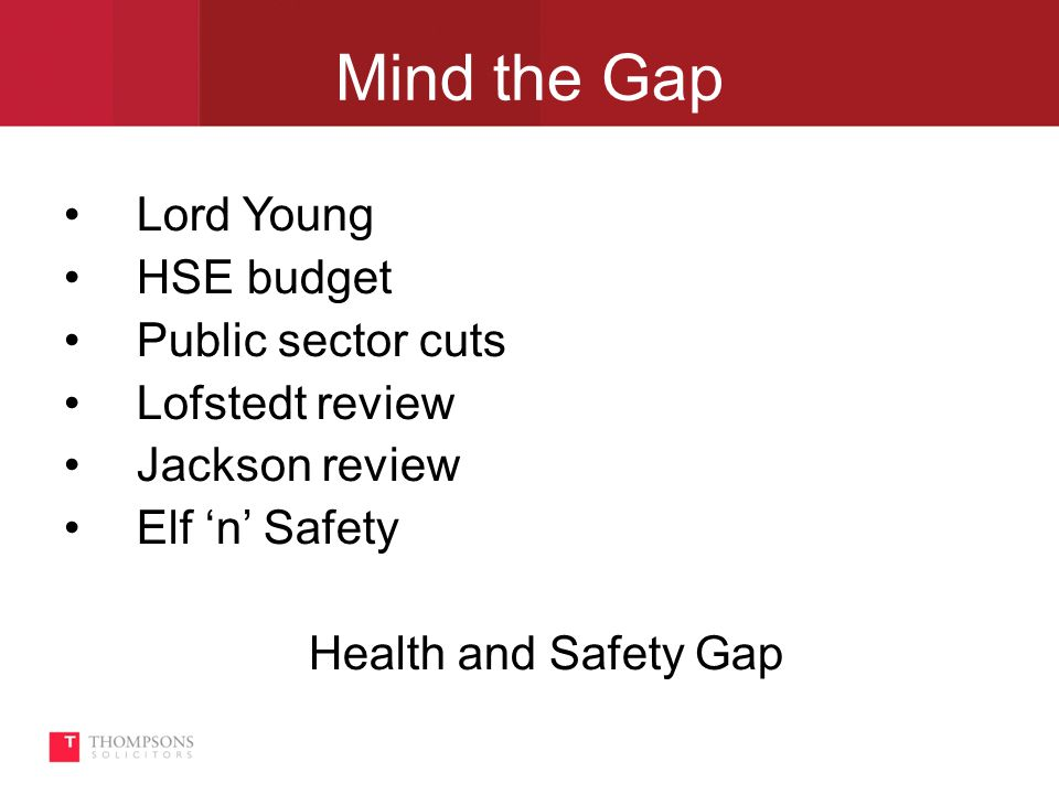 Mind the Gap Lord Young HSE budget Public sector cuts Lofstedt review Jackson review Elf 'n' Safety Health and Safety Gap