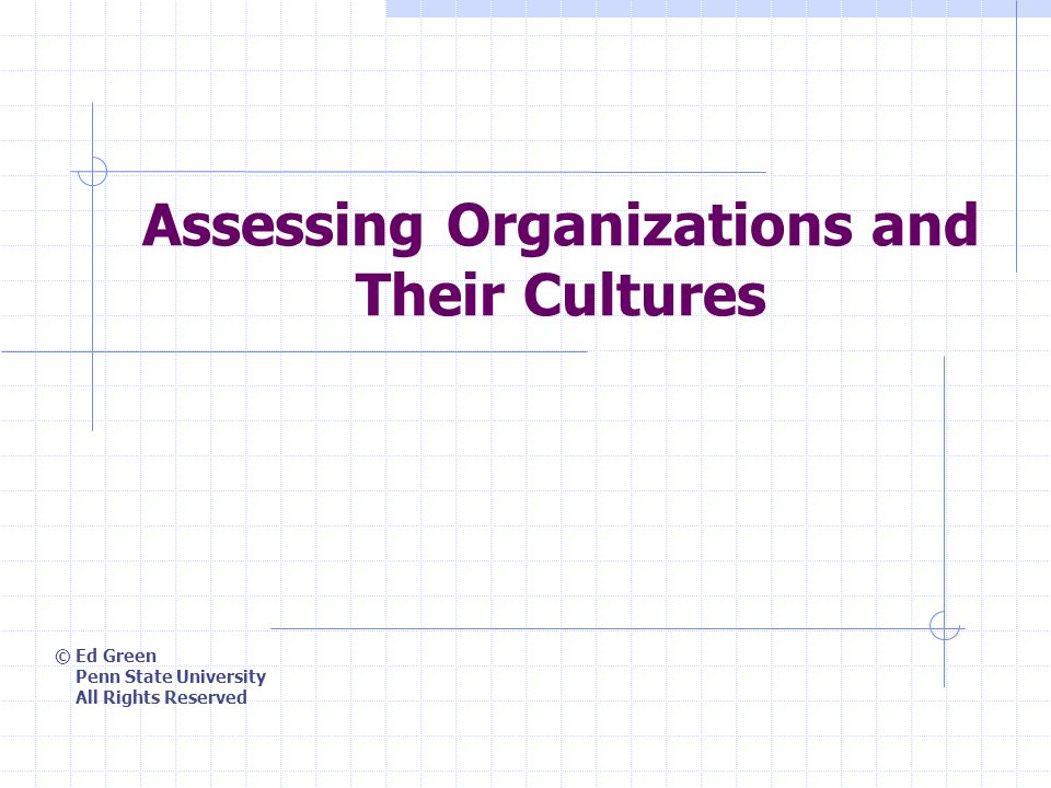 4/30/2015 Assessing Organizations and Their Cultures2 Topics Meaning of organizational culture Organizational Culture Assessment Instrument (OCAI) Competing values framework
