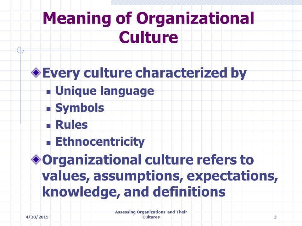 4/30/2015 Assessing Organizations and Their Cultures14 Value of Frameworks Cultural strength and congruence Holographic versus idiographic dimension Strong-weak dimension Internal-external focus dimension Speed (high/low) of feedback Degree (high/low) degree of risk Participatory versus ethnographic dimension