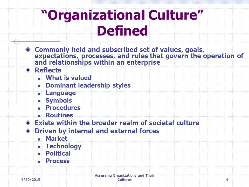 4/30/2015 Assessing Organizations and Their Cultures15 Eleven Dimensions of Culture* Clarity and direction Organizational reach Integration Management contact Encouragement of individual initiative Conflict resolution Performance clarity Performance emphasis Action orientation Compensation Human resource development * Gordon, 1985